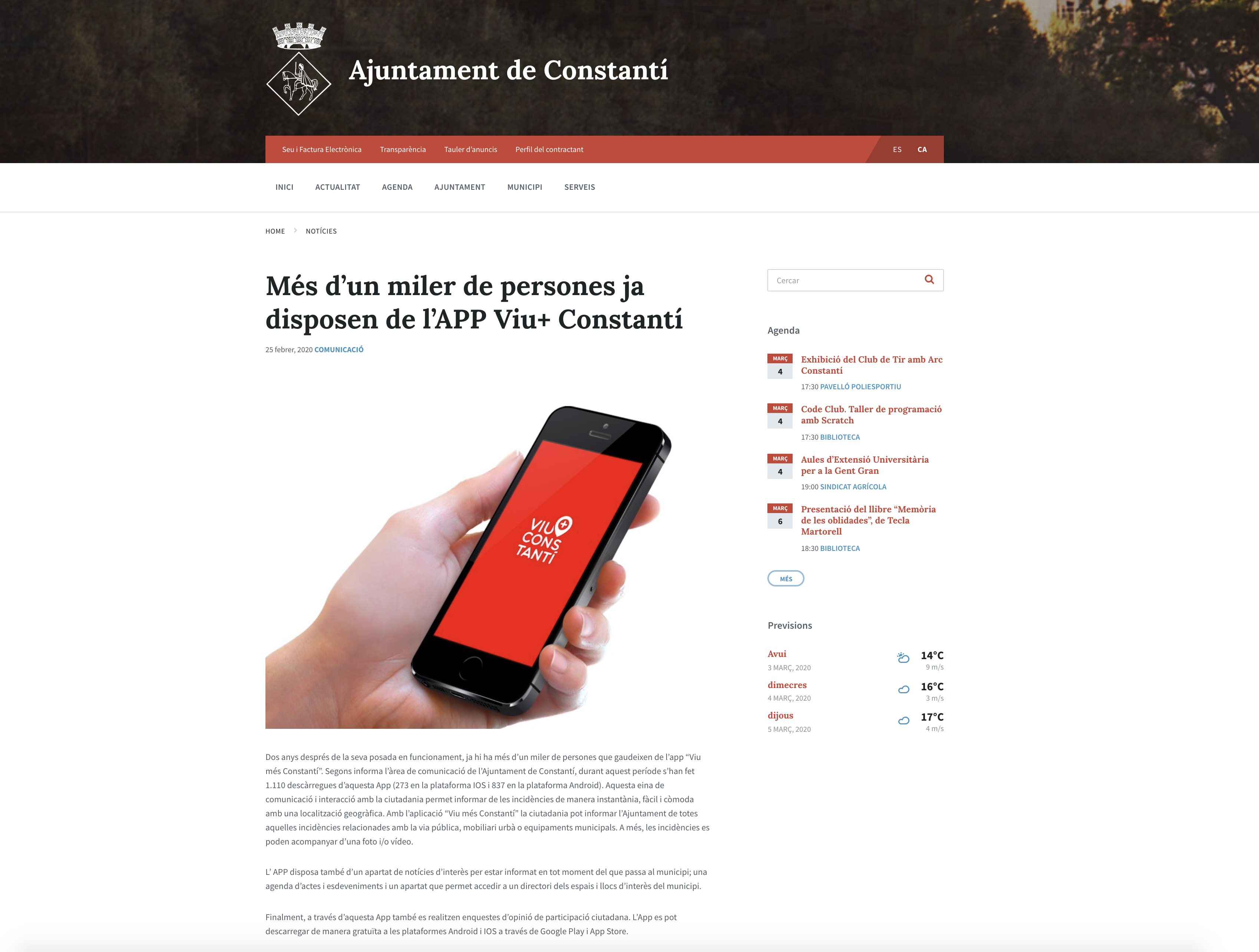 Més d'un miler de persones ja disposen de l'APP Viu+ Constantí